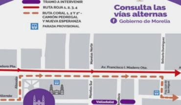 Conoce las rutas alternas del transporte público por obra en la calle Valladolid, en Morelia, Michoacán