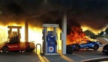 Se le prendió fuego el Lamborghini por un descuido de otro en la estación de servicio