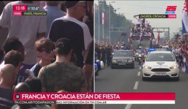 En París y Zagreb miles de personas recibieron a Francia y Croacia tras la final del Mundial