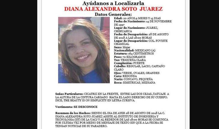 Desaparece estudiante de la Autónoma de Juárez