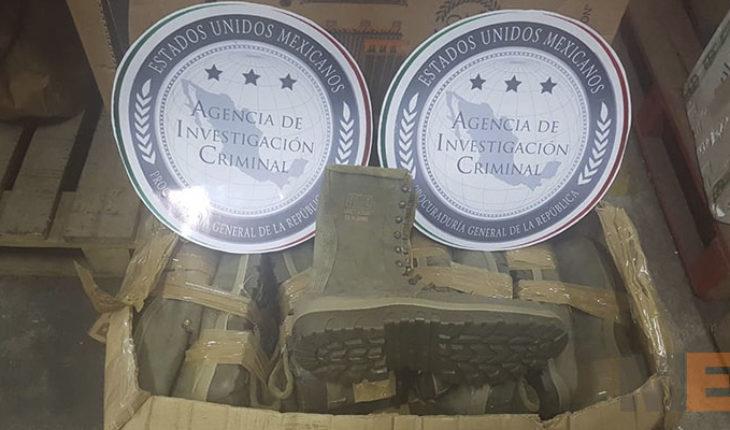 Aseguran botas apócrifas del Ejército Mexicano en empresa de paquetería en Morelia