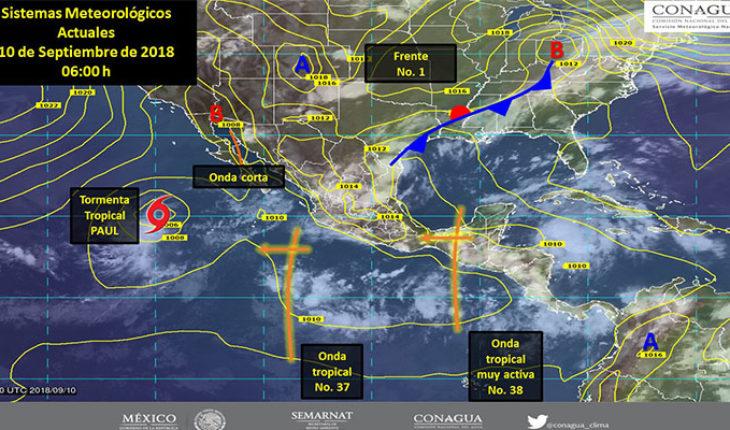 El frente No. 1 y la onda tropical No. 38, ocasionarán nubes de tormenta en gran parte del país