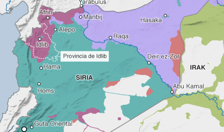 Mapa de la distribución de las fuerzas en el conflicto en Siria (a septiembre de 2018) y ubicación de la provincia de Idlib. Fuente: IHS Conflict Monitor vía BBC.com. Blog Elcano