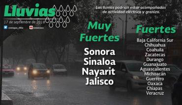 Prevén tormentas puntuales muy fuertes y actividad eléctrica en Sonora, Sinaloa, Nayarit y Jalisco