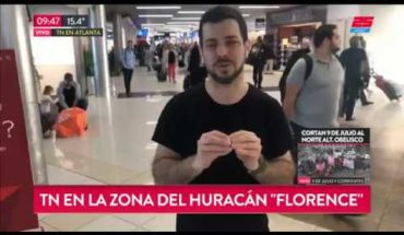 "José bianco viaja a la zona del huracán ""Florence"""
