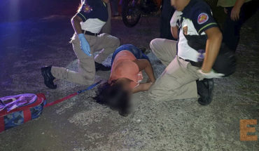 Pregnant woman and her partner suffer accident on a motorcycle on the road to Zamora-Tangancicuaro