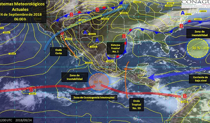 Se esperan tormentas puntuales intensas y actividad eléctrica en estados del sureste del país