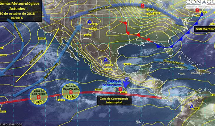 Prevén tormentas puntuales fuertes en estados del sur del litoral del Océano Pacífico y Golfo de México