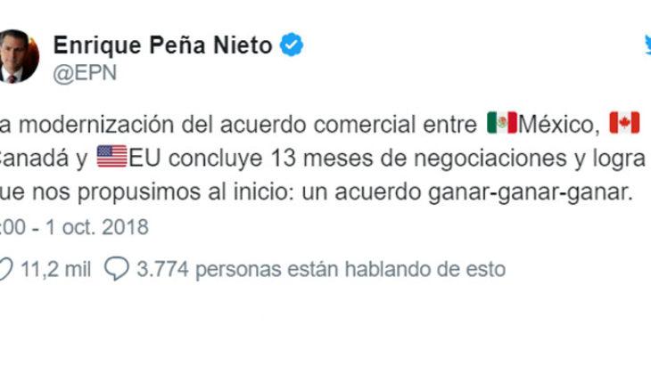 Tunden en twitter a Enrique Peña Nieto luego de que festejara por el USMCA
