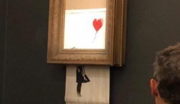 Una obra de Banksy se autodestruye tras ser subastada