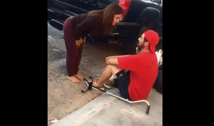 Cause outrage woman who assaulted a disabled man