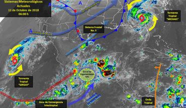 They predict intense isolated storms in Baja California Sur, Veracruz, Puebla, Guerrero, Oaxaca and Chiapas