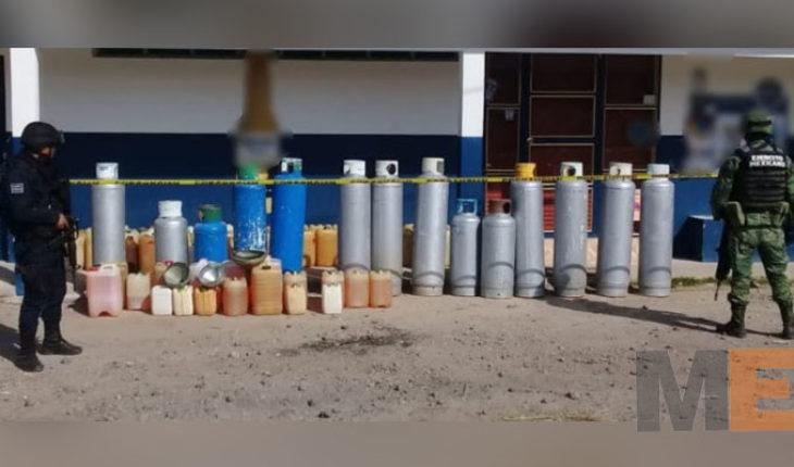 Aseguran 225 litros de combustible y 9 cilindros de gas LP, en Epitacio Huerta