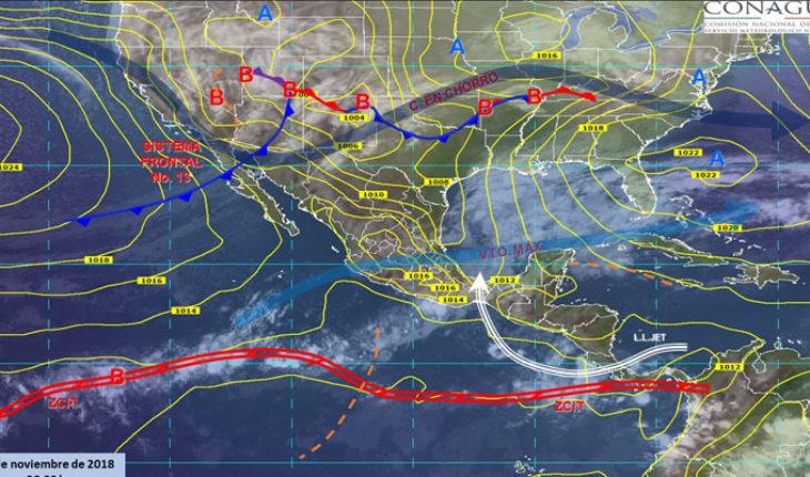 Hoy se prevén vientos fuertes en el Noroeste y Norte del país, así como tormentas fuertes en Guerrero