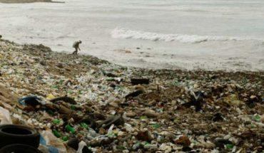 Pescador extrae botella de plástico de medio litro de un pez