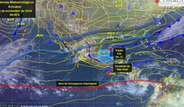 """Evento de """"Norte"""" en el Golfo de México, originado por el Frente Frío No. 11"""