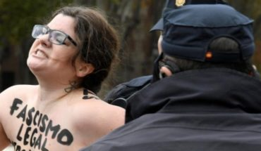 Femen activists protest in an act of far-right demonstrators in Spain
