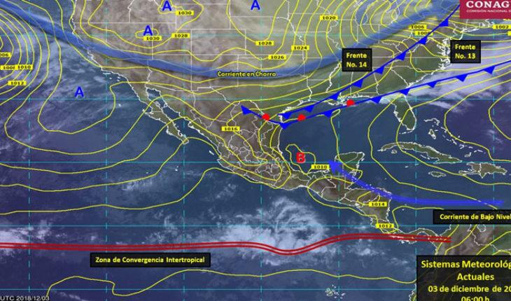 Frente Frío No. 14 cubrirá el Noreste y Oriente de Méxic
