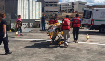 Ambulancia aérea traslada a mujer de Huetamo a Morelia, Michoacán