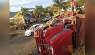 Camión cargado de caña choca y se voltea en Tocumbo