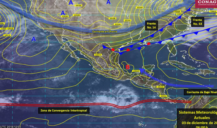 Cold front no. 14 will cover the Northeast and East of Mexico