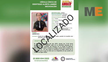 Minor is located was reported as missing in Morelia