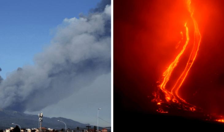 Volcán Etna provoca 150 sismos, nube de cenizas y lava