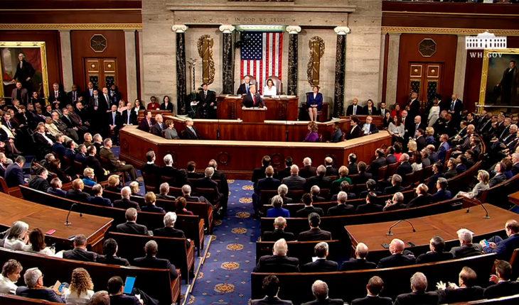 Donald Trump durante su segundo discurso sobre el Estado de la Unión como presidente de EEUU. Imágen vía The White House. Blog Elcano