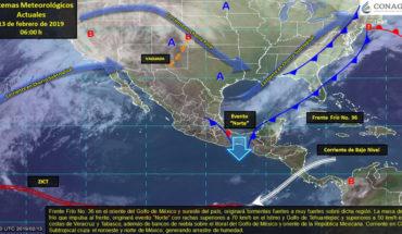 """Evento """"Norte"""" en el Golfo de México e Istmo de Tehuantepec, lluvias en el sureste de México"""