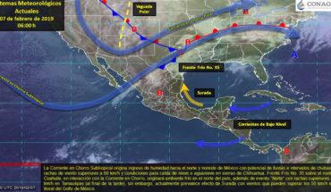 Frente Frío No. 35 favorecerá lluvias en el norte del país