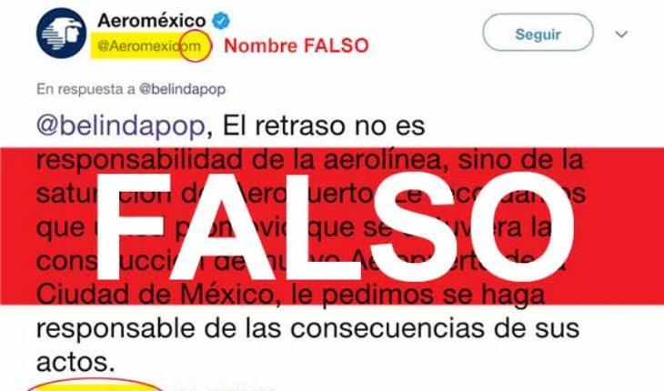 Supuesto tuit de Aeroméxico a queja de Belinda es falso