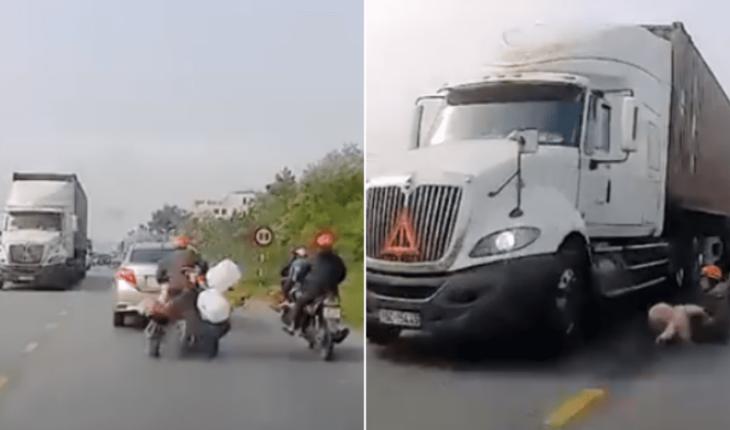 VIDEO: La tumban de moto y salva a niño de ser aplastado