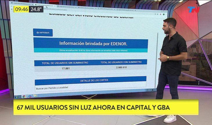 67 mil usuario sin luz en Capital y Gran Buenos Aires