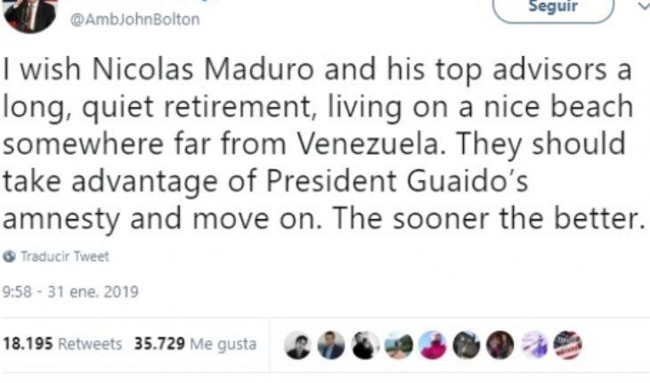 """Washington advirtió a Maduro que si no abandona el poder """"cuanto antes"""" podría jubilar """"en una zona playera como la de Guantánamo"""""""