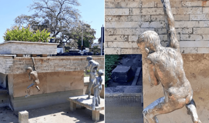 """Intenta robar estatua """"Niños Traviesos"""" y le cayó encima"""