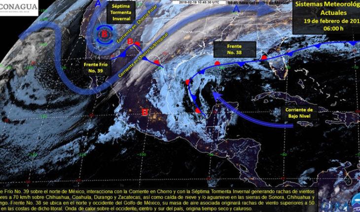 Viento y lluvias en el norte y oriente del país, en el resto de México continúan las temperaturas cálidas a calurosas