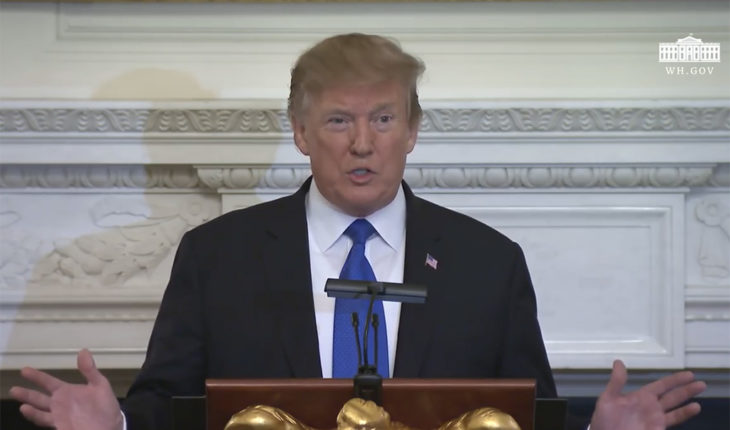 Donald Trump durante su discurso en la sesión de negocios de la Casa Blanca con los gobernadores. Imagen vía The White House. Blog Elcano