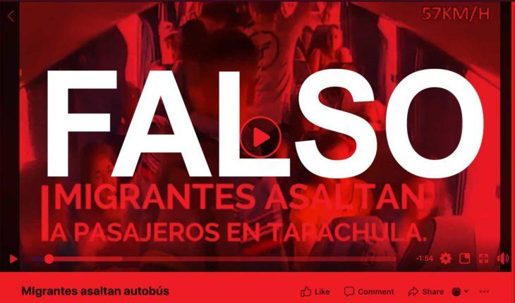Es falso que migrantes hayan asaltado un autobús en Chiapas