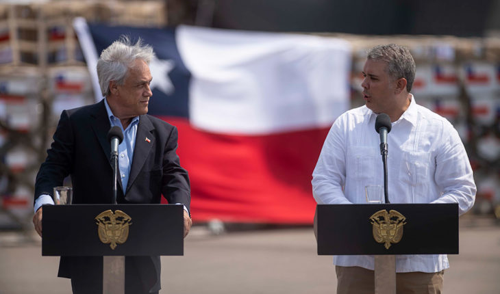 Los impulsores de Prosur Sebastián Piñera (presidente de Chile) e Iván Duque (presidente de Colombia) en la frontera colombo-venezolana (22/2/2019). Foto: Marcelo Segura / Prensa Presidencia-Gobierno de Chile. Blog Elcano