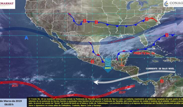 Tormentas en el sureste, caída de nieve o aguanieve en estados del norte, ambiente templado en gran parte de México