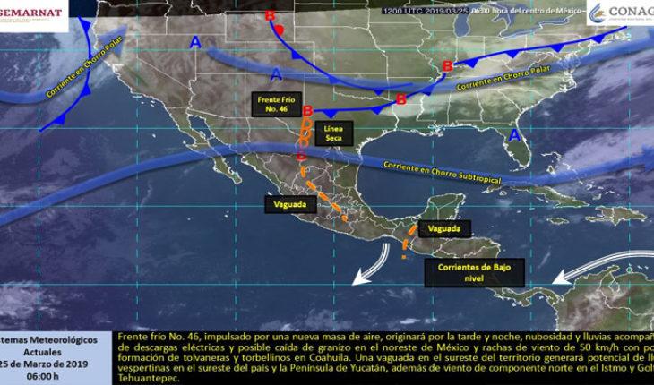 Bajo potencial de lluvias y temperaturas calurosas en la mayor parte del país