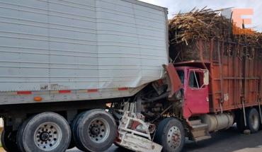Tráiler y camión colisionan, por fortuna no hubo heridos en Tocumbo, Michoacán