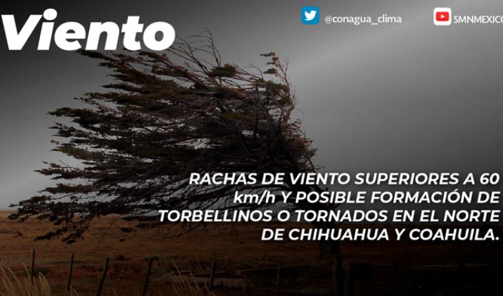 Vientos fuertes y tolvaneras en Coahuila, Nuevo león y Tamaulipas