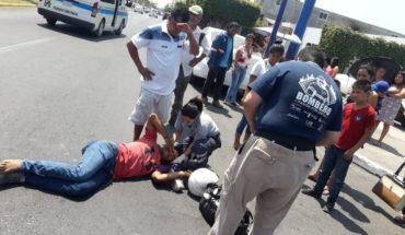 Encontronazo en avenida de Lázaro Cárdenas, deja un motociclista herido