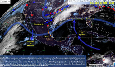 Tormentas en el Sureste y Golfo de México, fuertes rachas de viento en la Península de B.C. y en el Istmo de Tehuantepec, temperaturas calurosas en el resto del país