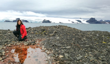 Researchers studying microbial diversity of Antarctic soil