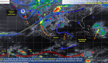 Storms with possible fall of hail in parts of the Northeast and center of Mexico