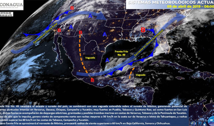 Very strong storms in the Southeast and Peninsula of Yucatan, intervals of showers in Puebla, State of Mexico and Guerrero