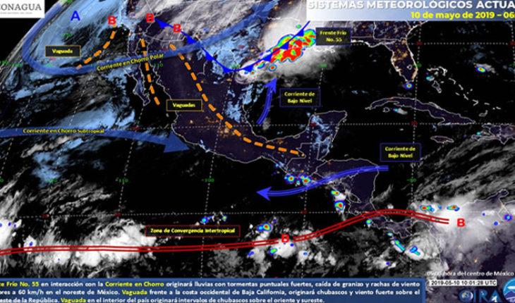 Ambiente muy caluroso sobre los estados del litoral del Pacífico, litoral del Golfo de México y Península de Yucatán, lluvias en el norte del país