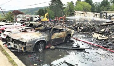 A collection of classic cars was set alight on an HBO series